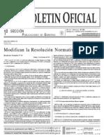 Modificación Res. Normativa 1/2011 publicada el 28/12/2012