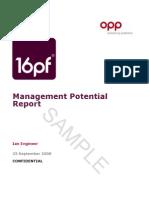 16pf Management Potential Report
