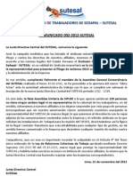 Comunicado Nº 002-2012 SUTESAL