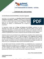 Comunicado Nº 003-1-2012 SUTESAL