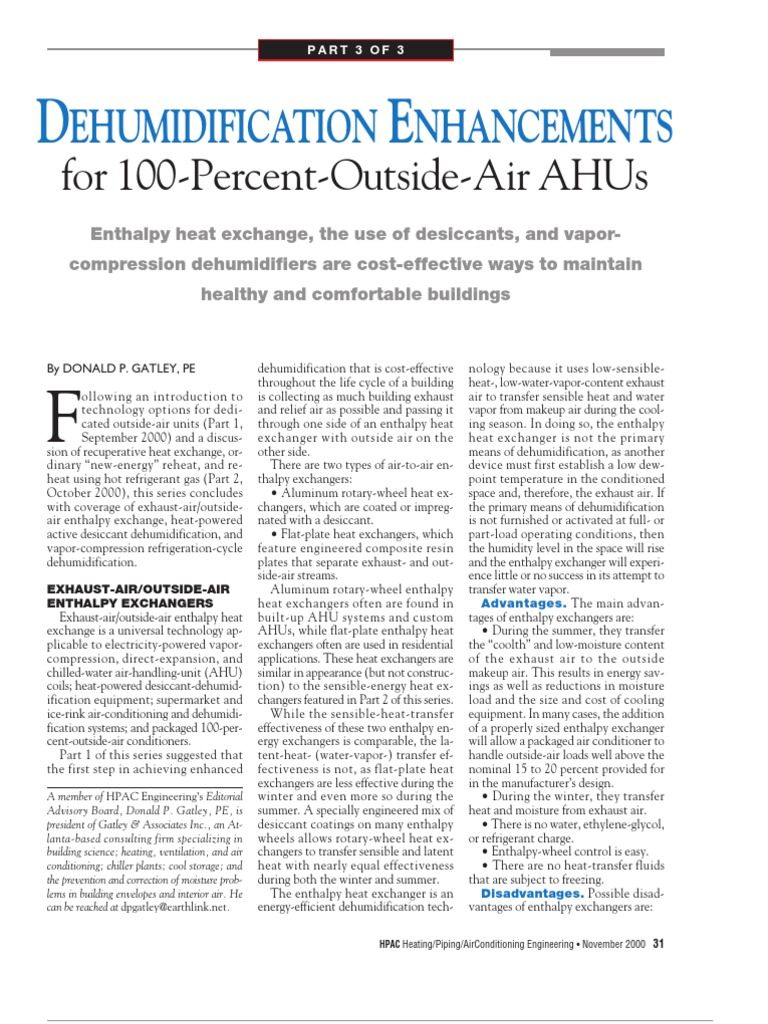 Ahu Dehumidifier | Air Conditioning | Hvac