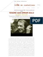 Derrida en castellano - Gilles Deleuze - Tendré que errar solo