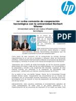 HP firma convenio de cooperación tecnológica con la universidad Norbert Wiener