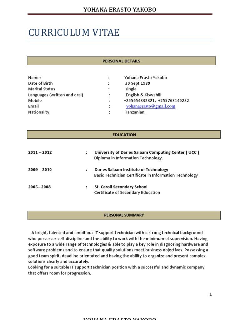 My Cv Tanzania Information And Communications Technology