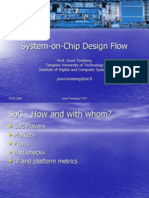Soc Design Flow System On A Chip Computer Engineering
