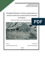 Estratigrafía doméstica e historias ocupacionales en el período Formativo de la cuenca baja de la Quebrada de Tarapacá