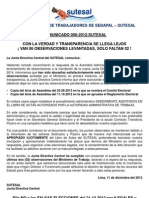 Comunicado Nº 006-2012 SUTESAL