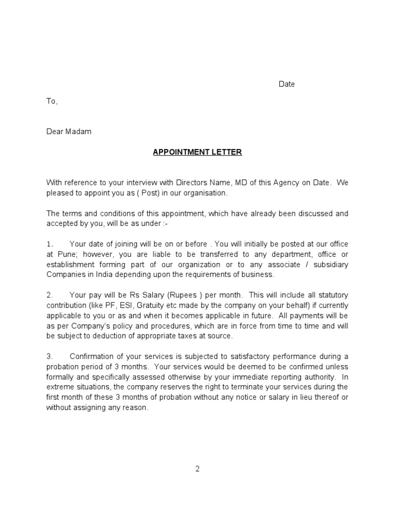 Appointment Letter Format | Salary | Public Law