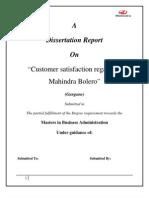 Marketing Research Project Report on Customer Satisfaction Regarding Manhindra Bolero