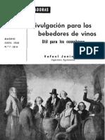 Divulgación para los bebedores de vino. Util para los cosecheros. (1958)