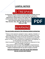 No Trespass Lawful Notice