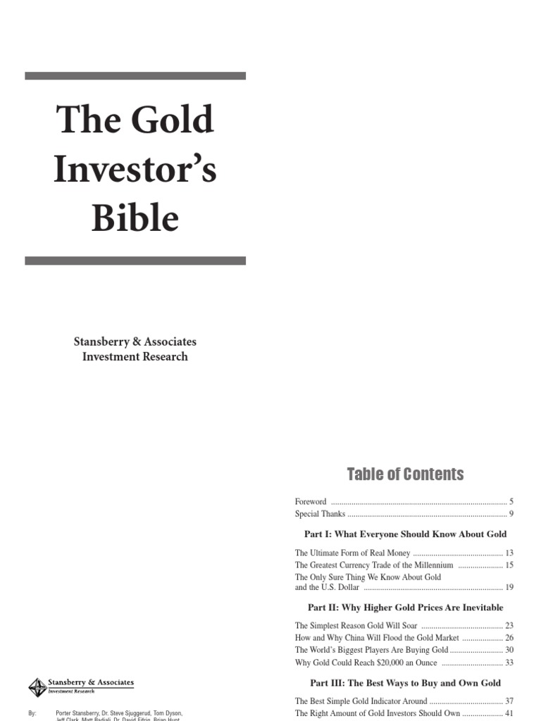 Porter Stansberry the Gold Investor Bible | United States Dollar | Gold As  An Investment