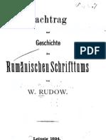 Rudow, Nachtrag zur Gescichte des Rumänischen Schriftums (1894)