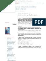 QUÍMICA-EXERCÍCIOS DE VESTIBULARES_ Lista de Exercícios - 43 - Equilíbrio Químico