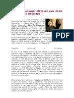 Carta de Monseñor Blázquez para el dia de la Iglesia diocesana