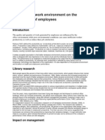 Effect of the Work Environment on the Productivity of Employees