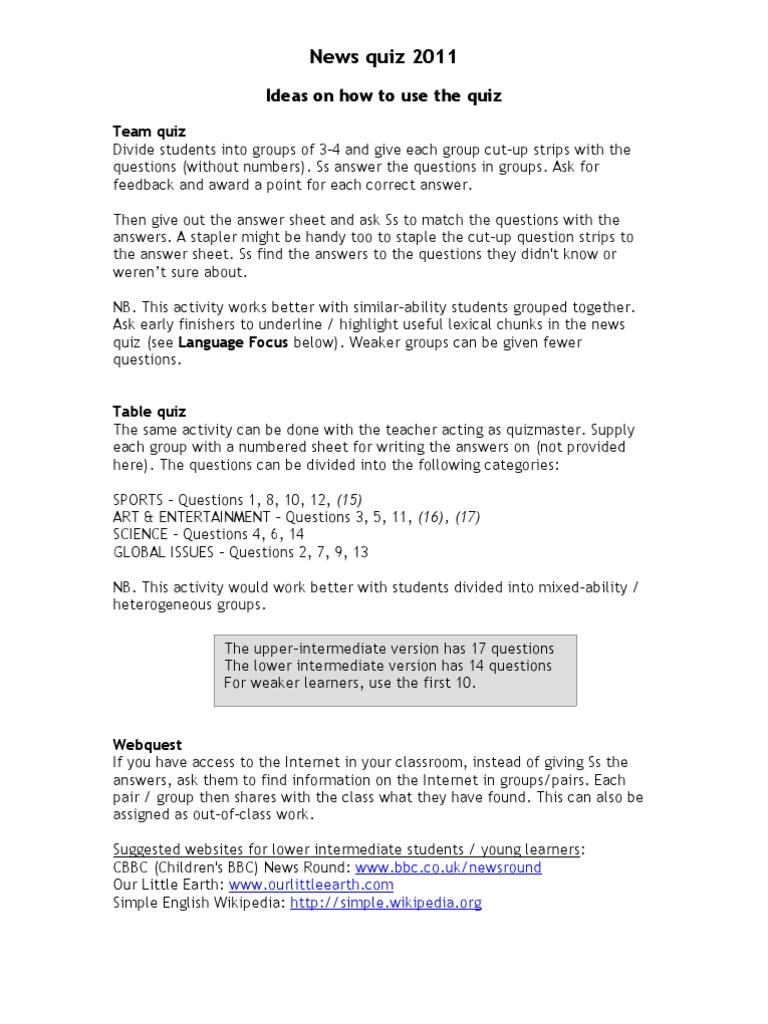 2012 News quiz - Teachers notes   Verb   Grammar