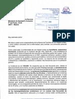 Carta al Ministro de Sanidad Bernat Soria