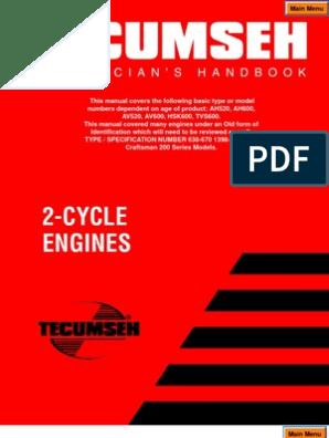 Tecumseh 2 Cycle Engines Manual | Carburetor | Internal