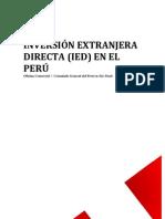 INVERSIÓN EXTRANJERA DIRECTA (IED) EN EL PERU