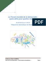 Télégramme diplomatique de Strasbourg. Forum mondial de la démocratie 2012