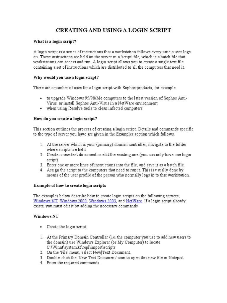 Logon Script | Login | Operating System Families