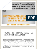 Experiencias en Promocion de La Salud Sexual Reproductiva de Adolescentes - Lima Sur