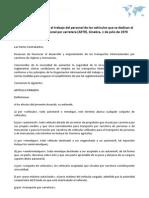 Acuerdo europeo sobre el trabajo del personal de los vehículos que se dedican al transporte internacional por carretera (AETR). Ginebra, 1 de julio de 1970