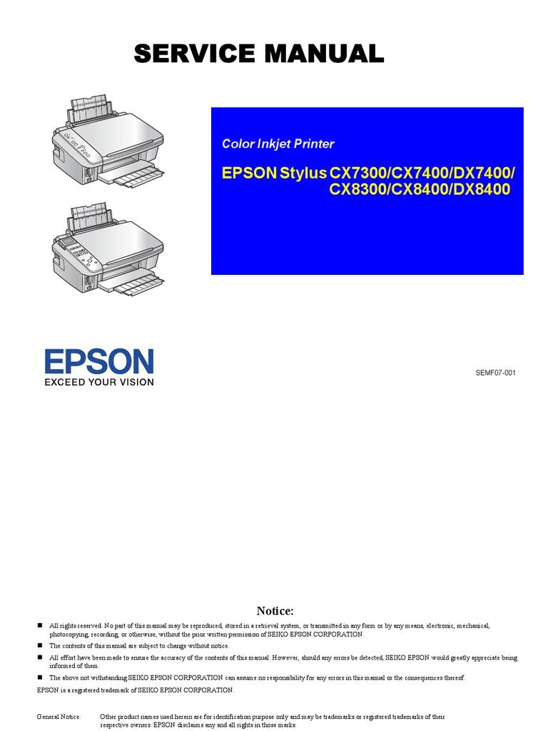 epson service manual secure digital image scanner rh scribd com Install Epson Stylus CX7400 epson stylus cx7400 service manual