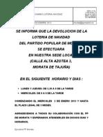 Devolución de la Loteria de Navidad Del Partido Popular de Morata de Tajuña