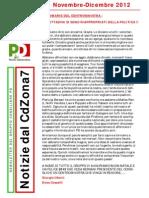 Newsletter di NOVEMBRE-DICEMBRE 2012 del Gruppo Consiliare PD di Zona 7-Milano