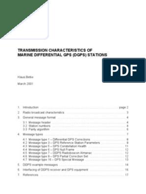 Transmission Characteristics Of Marine Differential Gps (Dgps) Stations