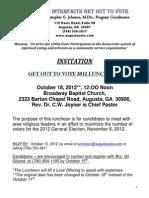 Augusta Interfaith 'Get Out to Vote 2012' Luncheon, Broadway Baptist Church, Rev. Christopher G. Johnson 706-550-3817 Augustavote.com Strive for 100% Voter Participation 10-18-12