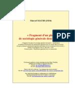 Mauss Fragment d'un plan de sociologie générale descriptive.