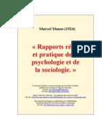 Mauss Rapports réels et pratiques de la psychologie et de la sociologie.