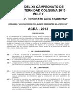 BASES DE VOLEY - XII CAMPEONATO DE CONFRATERNIDAD COLQUINA