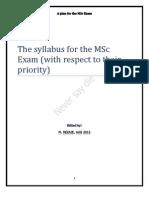 Plan for MSc Exam