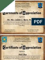 Certificate sample