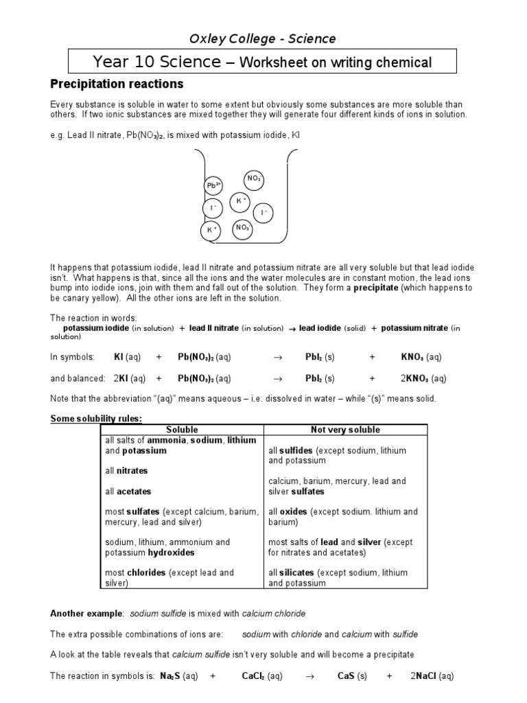 Chemical Equations Worksheet Answers 2 Precipitation Chemistry