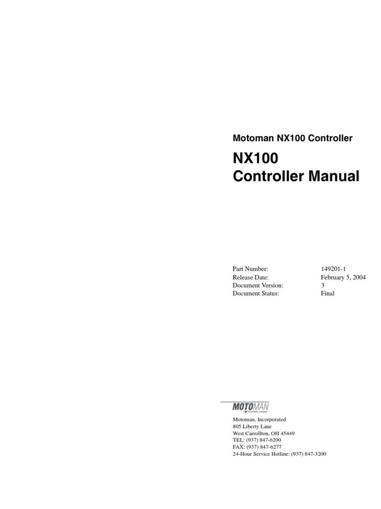 nx100 controller manual occupational safety and health safety rh fr scribd com Motoman Px2050 Range of Motion Motoman Robots