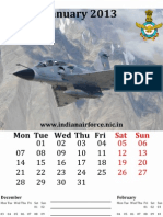 Indian Air Force [IAF] Themed Calendar for 2013