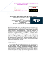 A Parameteric Design Study of Surface Roughness in Dry Turning Operation of En24 Steel