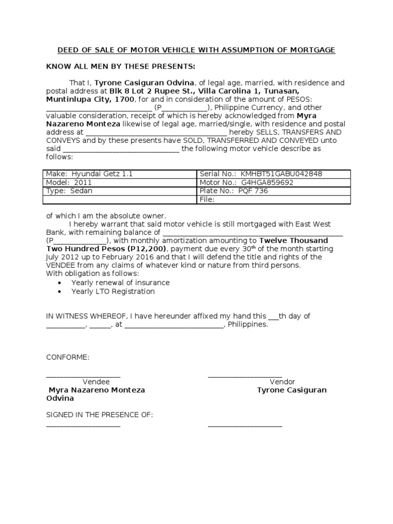 Deed of Sale of Motor Vehicle With Assumption of Mortgage – Blank Mortgage Form