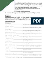 """Arbeitsblatt zu Nebensätzen mit der Konjunktion """"dass"""""""