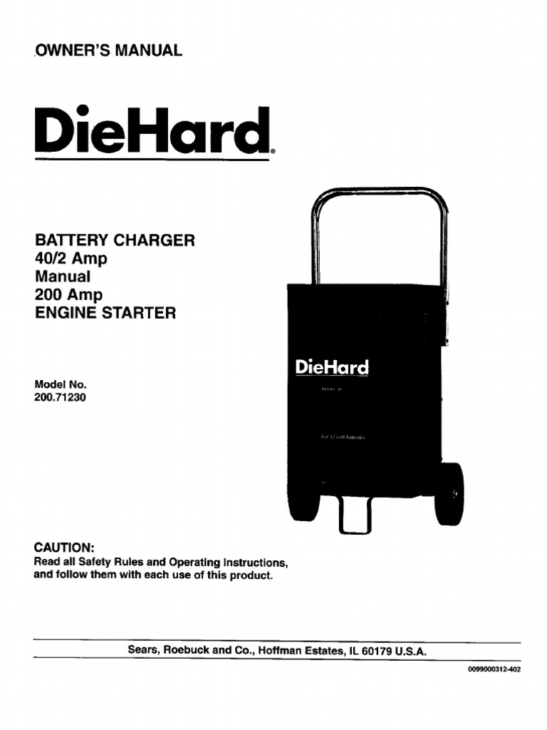 Sears hard Battery Charger Owner's Manual - Model 200 ... on