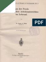 Aus der Praxis des chemischen Arbeitsunterrichtes im Lehrsaal- Dr. Gustav A. Weiß - 1928