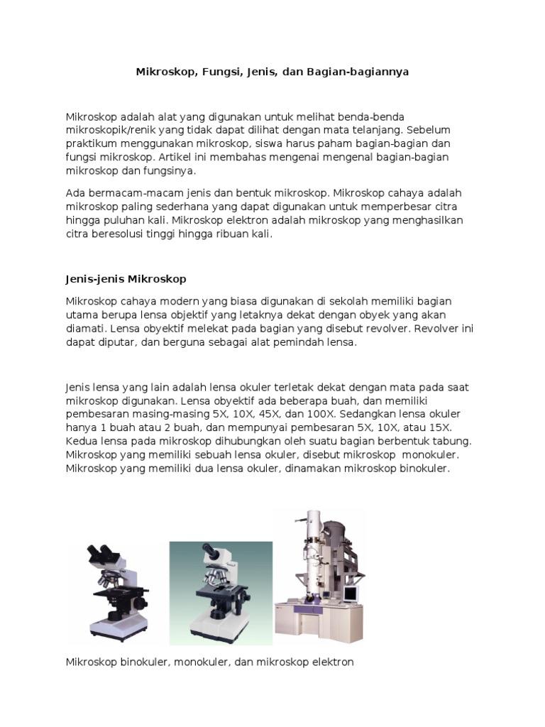 gambar mikroskop binokuler dan bagian