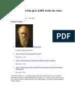 Charles Darwin Gets 4000 Vote