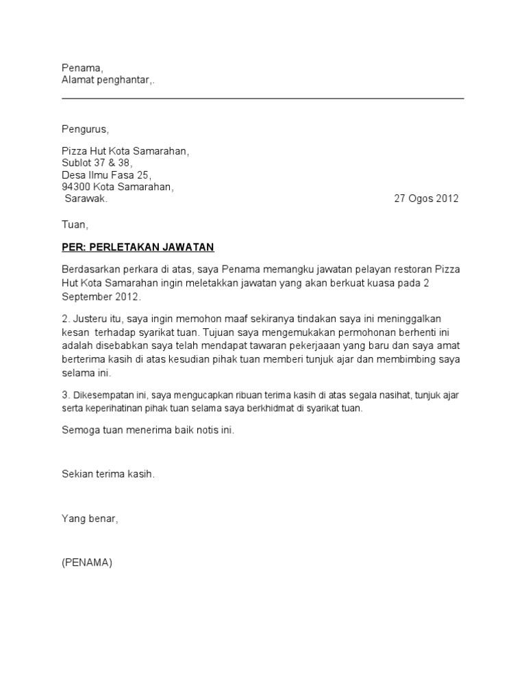 Contoh Surat Berhenti Kerja Informasi Seputar Dunia