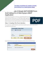 Steps to Create a Simple SAP ADOBE Form